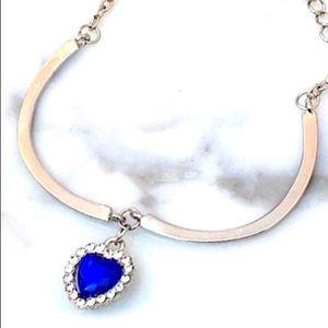 Blue Crystal Heart Charm Bracelet